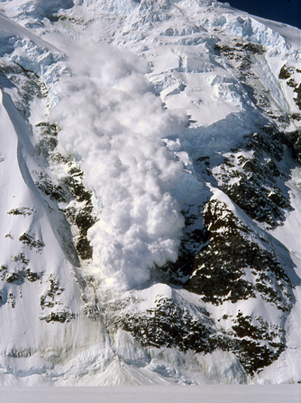 Ice fall-triggered avalanche in St. Elias Mountains, AK